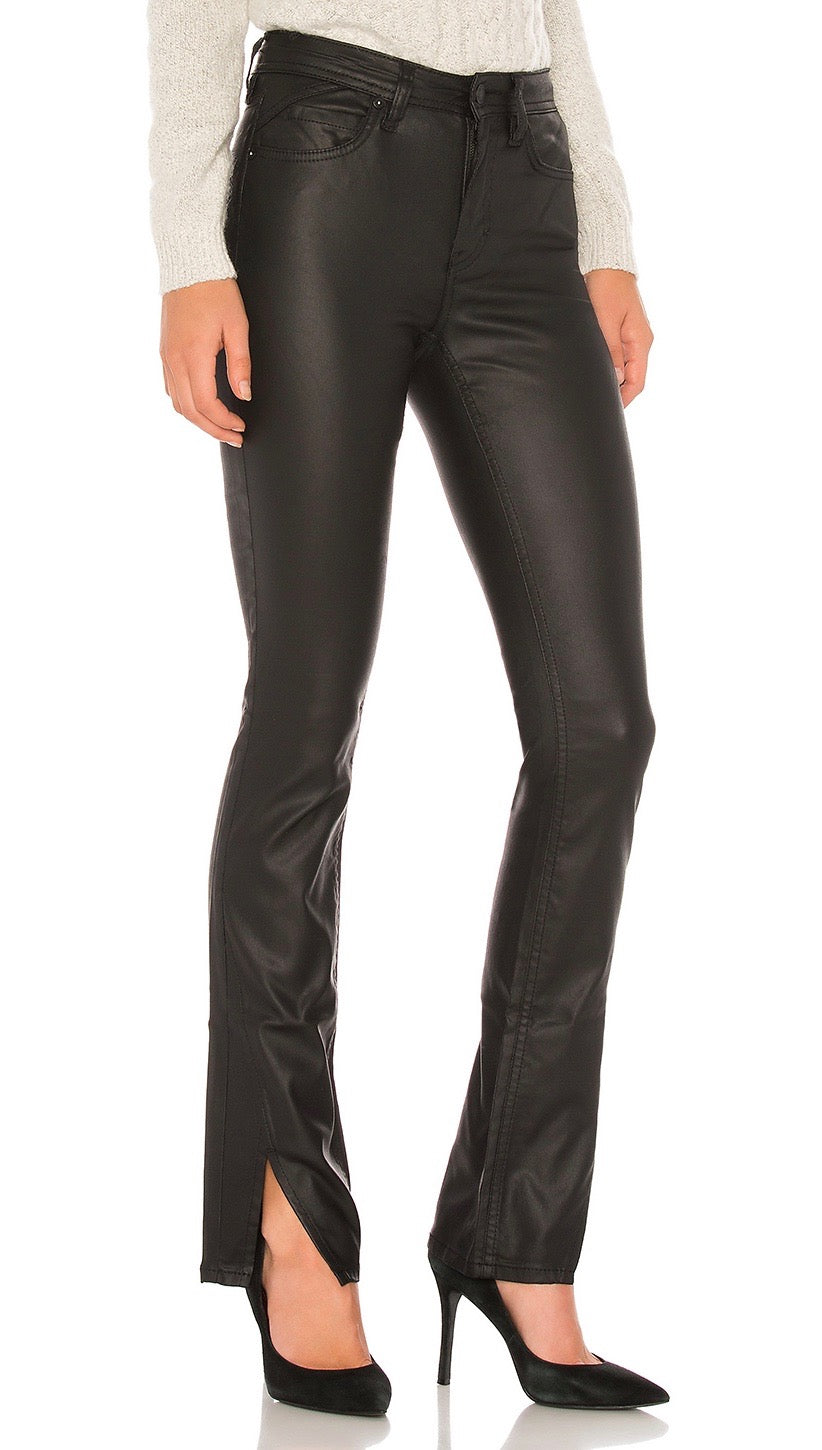 Free People Spellbound Coated Bootcut Jean Black Faux Leather | ShopAA