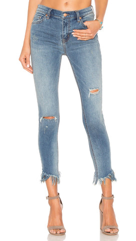 Free People Great Heights Frayed Skinny Denim Pants Blue Sky | ShopAA