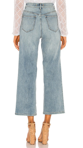 Free People Wales Wide Leg Crop Jean Light Blue Denim High Waist