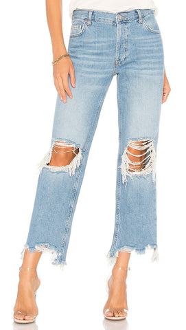 Free People Maggie Mid Rise Straight Leg Distressed Ripped | ShopAA