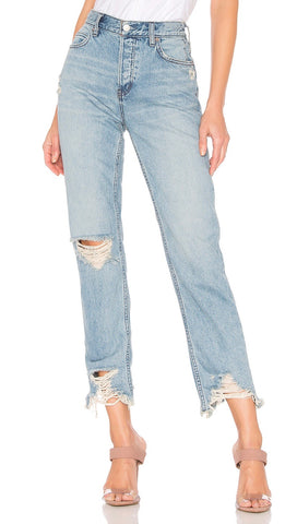 Free People Chewed Up Straight Leg Distressed Ankle Jeans Mid Rise Indigo Blue | ShopAA