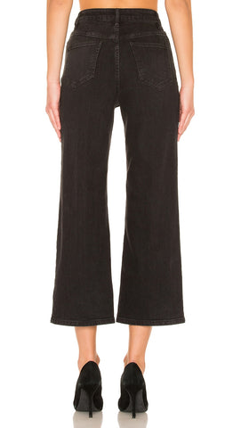 Free People Wales Wide Leg Crop Jean Black Denim High Waist Stretch
