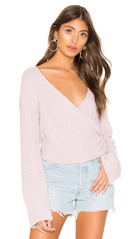 Free People Sensual Wrap Sweater Purple V Neck Wrap Knit I ShopAA