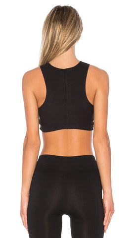 Free People Ribbed Supernova Bra Top Black