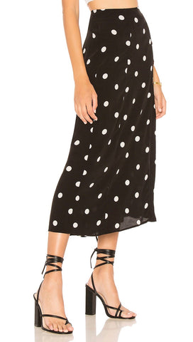 Free People Retro Love Midi High Waist Skirt Black White Dots I ShopAA