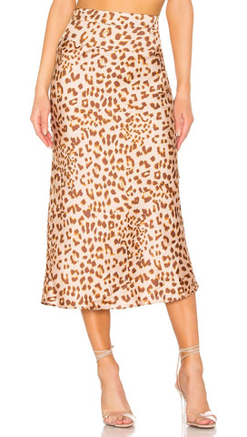 Free People Normani Bias Midi Skirt Leopard Print High Waist Silk Satin | ShopAA