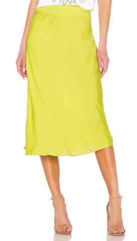 Free People Normani Bias Midi Skirt Lime Neon Silk Satin | ShopAA