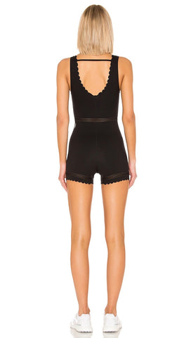 Free People Movement Genesis Bodysuit Black Scallop | ShopAA