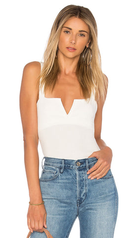 Free People Pippa V-Wire Bodysuit Thong One Piece Ivory - ShopAA