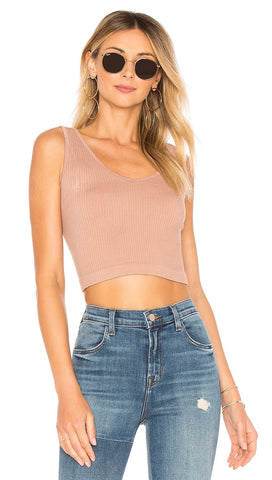 Free People Solid Rib Brami V Neck Crop Top Nude Activewear I ShopAA