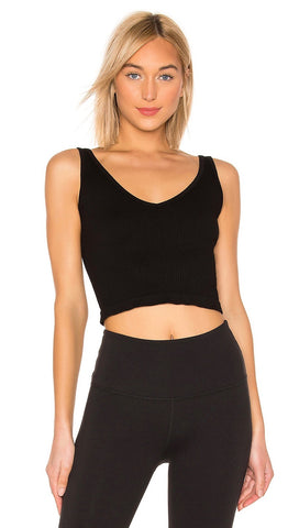 Free People Solid Rib Brami V Neck Crop Top Black Activewear I ShopAA