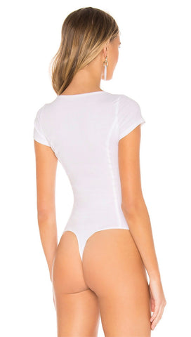 Free People Deep Conversation Bodysuit White V Wire Top I ShopAA