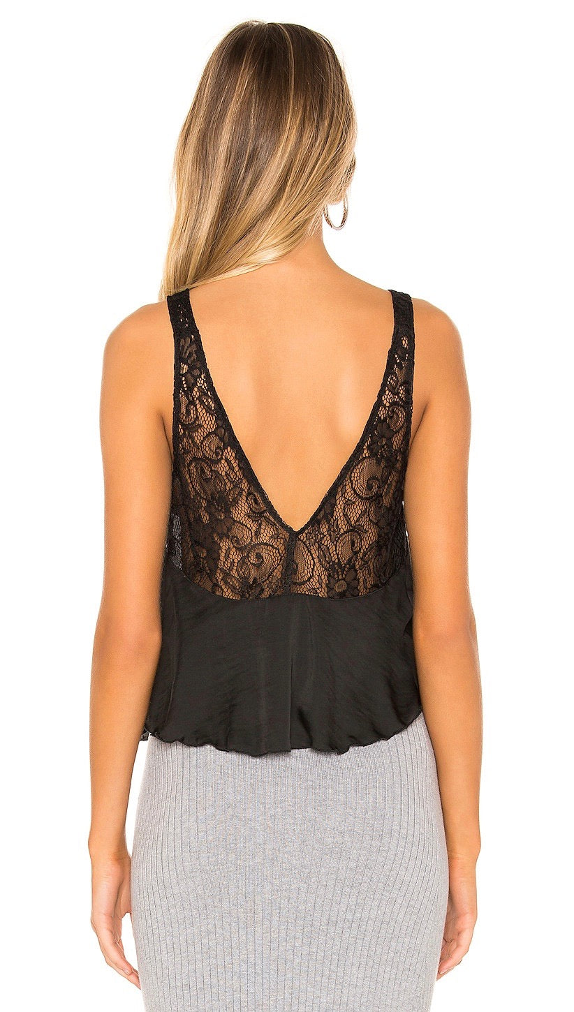 Free People In My Head Silk Satin Lace Cami Tank Top Black V Neck