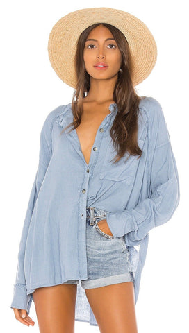 Free People Keep It Simple Button Down Shirt Blue Frayed Edge I ShopAA