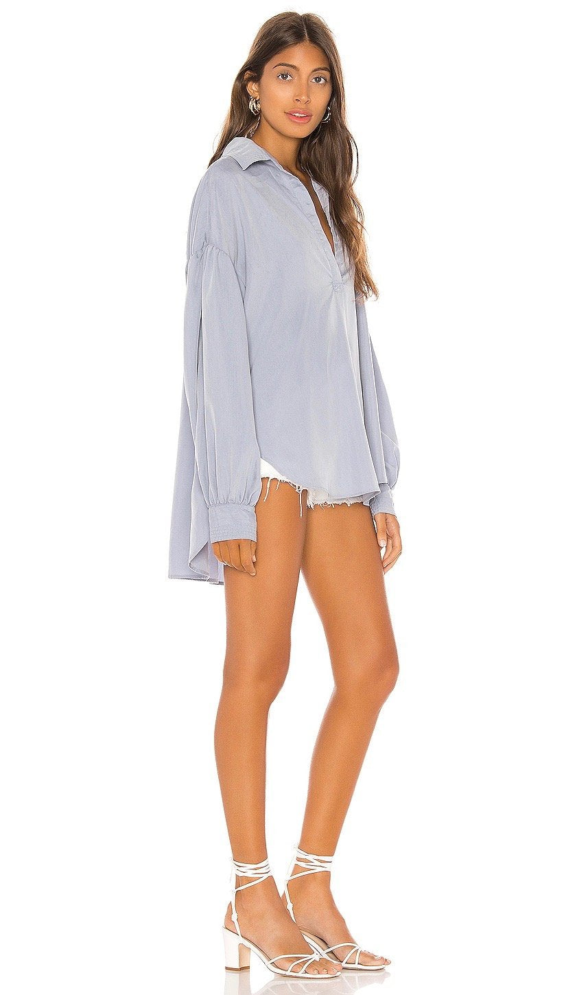 Free People Love Until Tomorrow Pullover Top Sky Blue Shirt I ShopAA