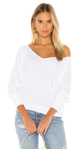 Free People Santa Clara Thermal Dolman White Waffle Knit Top I ShopAA