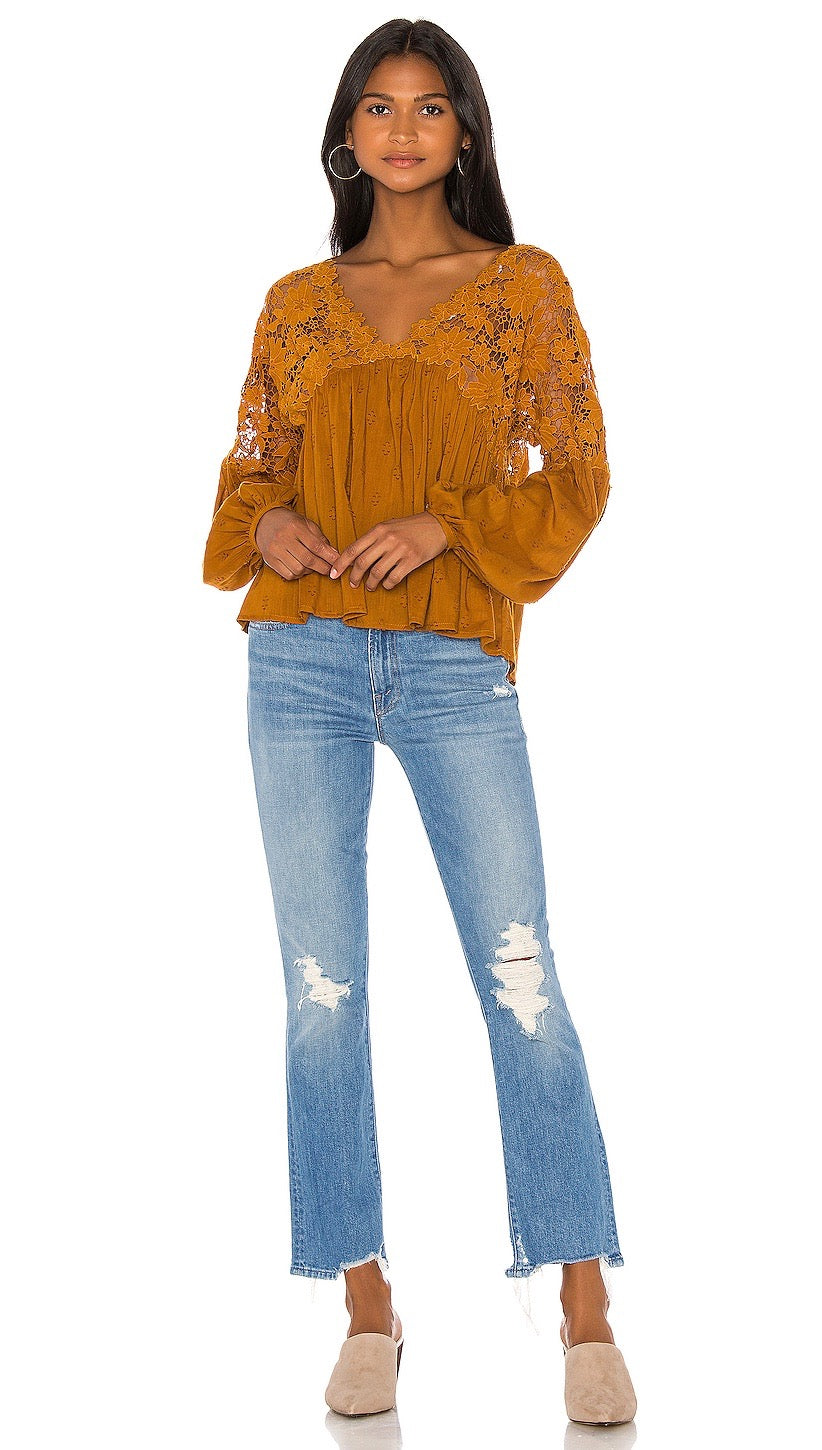 Free People Lina Lace Top Bronze Floral Crochet Lace Peasant I ShopAA