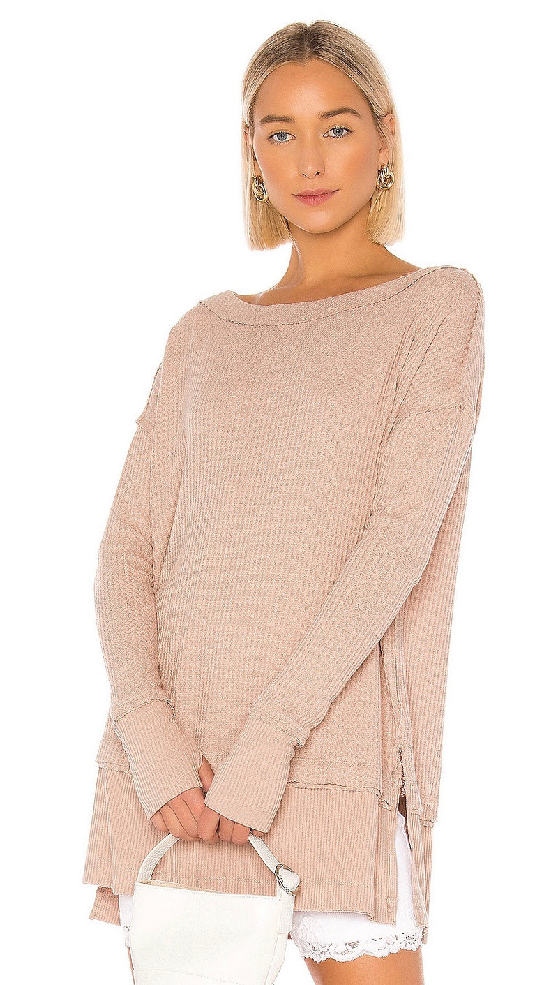 Free People North Shore Thermal Sand Beige Thumb Slit Long Sleeve ShopAA