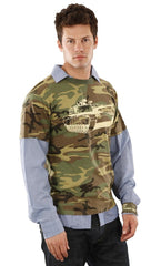 Fresh Karma Camoflauge Collared Contrast Woven Army Military Tank Tee Green