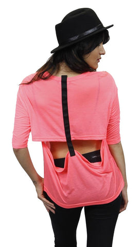 Funktional T-Back Tee in Neon Pink Cut Out Open Back