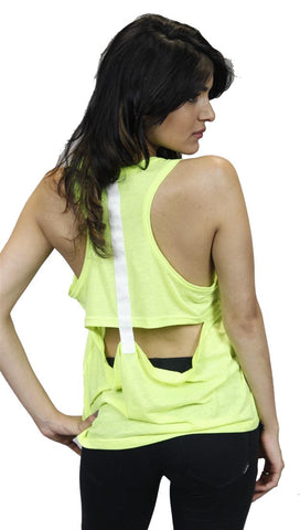 Funktional T-Back Cut Out Tank in Neon Yellow