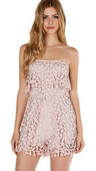 Crochet We Go Strapless Tube Romper Mauve Tulip Pleat Tassel Lac Bleu