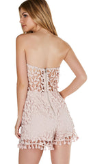 Crochet We Go Strapless Tube Romper Mauve Tulip Pleat Tassel