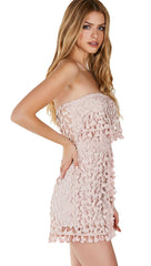 Crochet We Go Strapless  Tube Shorts Romper Pink
