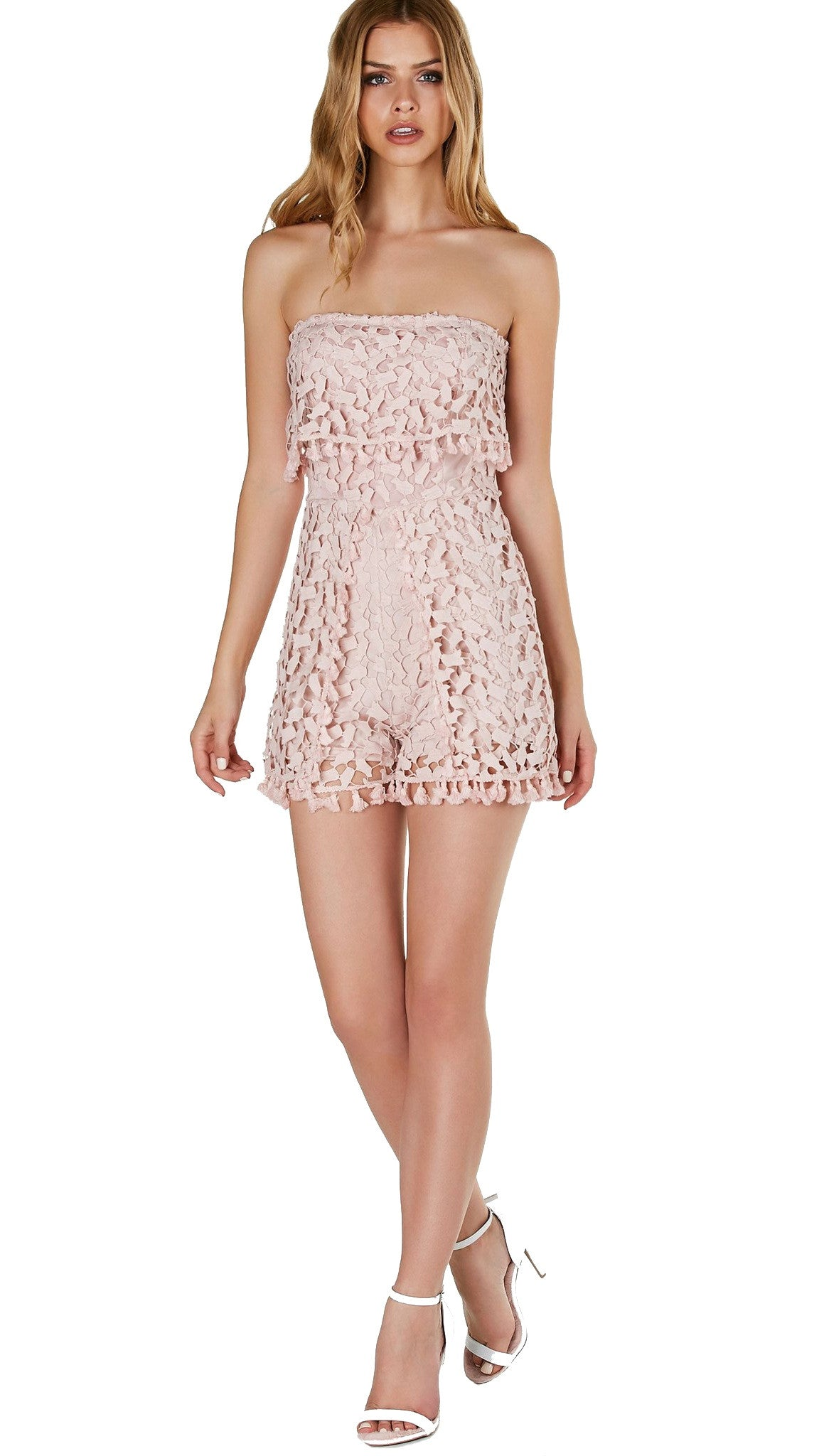 Crochet Overlay We Go Strapless Tube Romper Mauve