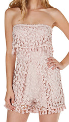 Crochet We Go Strapless Tube Romper Mauve Pink Tulip