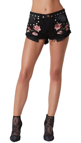 Pretty Floral Embroidered Denim Festival Shorts Black