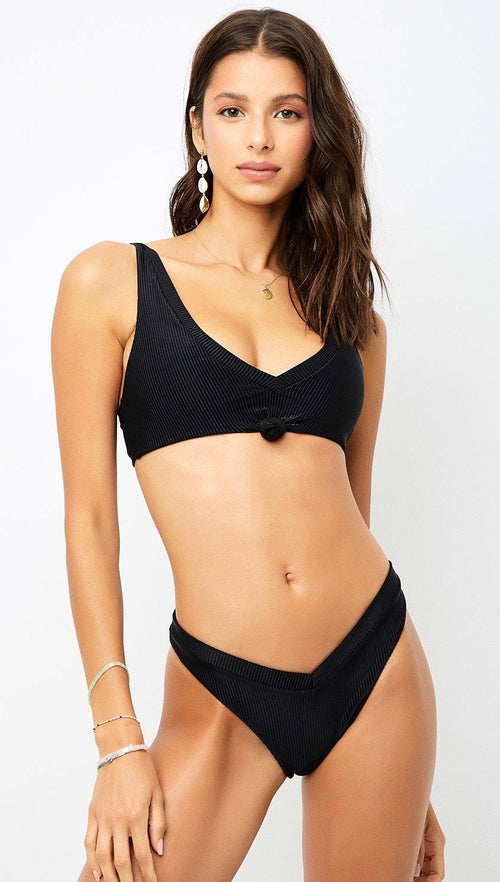 Frankies Bikinis Austin Top Black V-Neck Knot Tie Tank Swim | ShopAA