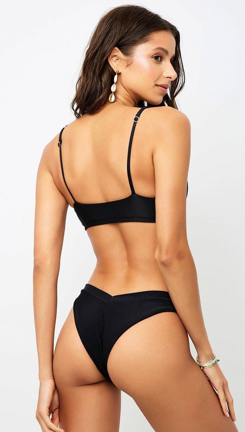 Frankies Bikinis Austin Bottom Black V-Waist Swimwear | ShopAA