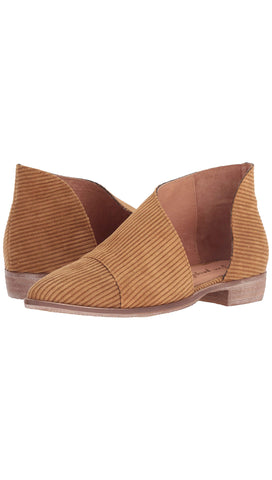 Free People Fabric Royale Flat Gold Cut Out Tan Corduroy Slip On Shoes