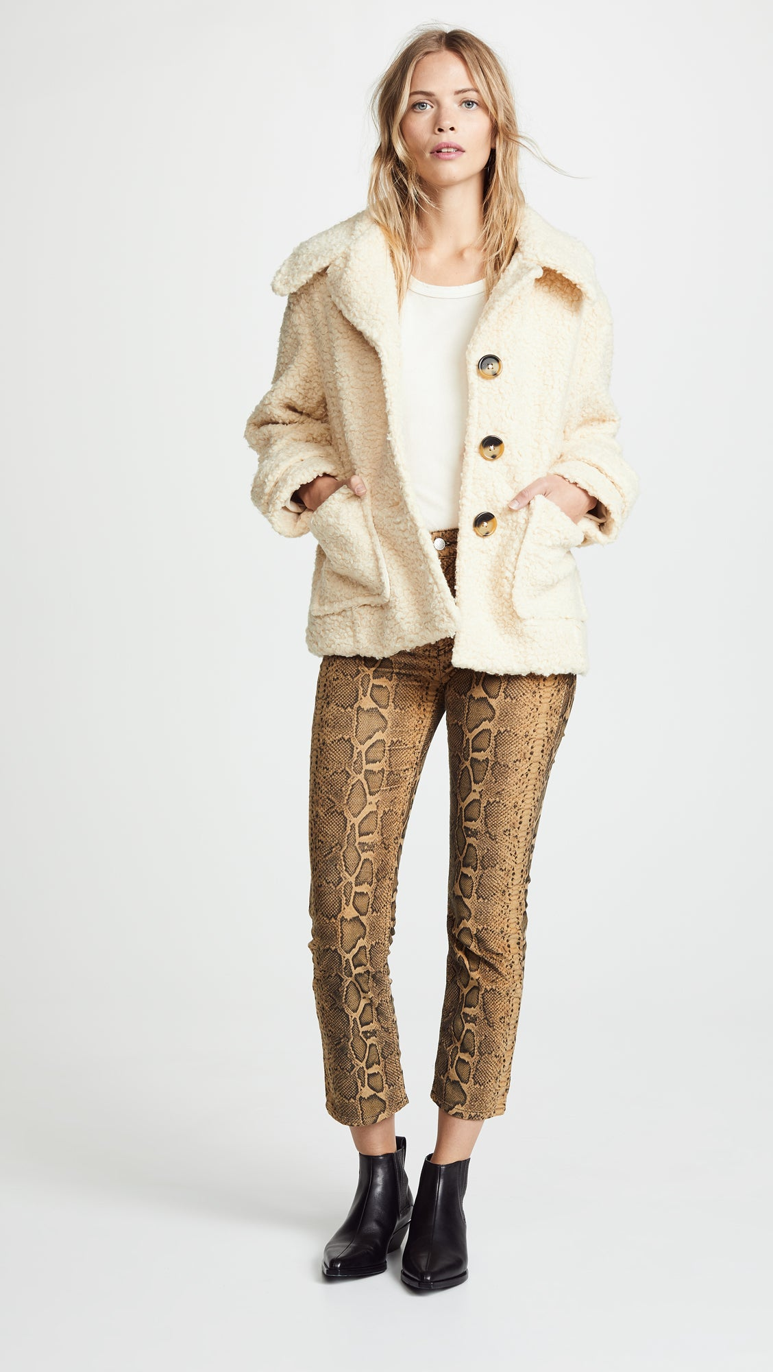 Free People So Soft Cozy Peacoat Ivory Coat Jacket Fur | ShopAA