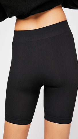 Free People Movement Seamless Rib Stretch Bike Active Shorts Black