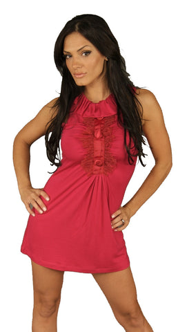Gabriella Rosette Trim Tunic Hot Pink