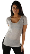 Goldie Black Lace Insert Pocket Crew Tee Shirt in Heather Gray