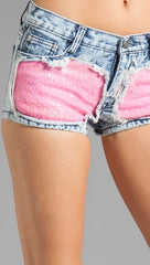 Gypsy Junkies Liberty Sequin Denim Cut Off Shorts in Neon Pink