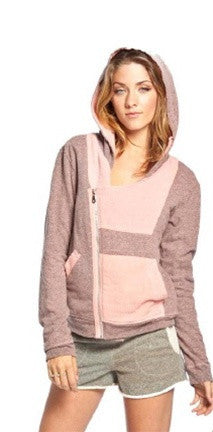 Gypsy 05 Chloe Cotton Gauze Asymmetrical Zip Up in Rose