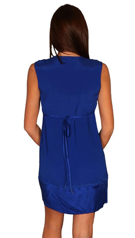 Hale Bob Button Silk Shift V Neck Button Detail Dress Cobalt Blue