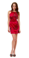 Hale Bob Floral Foil Stamped Stretch Silk Charmeuse Belted Dress Bright Red