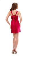 Hale Bob Foil Stamped Stretch Silk Belted Dress Red