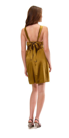 Hale Bob Foil Floral Stamped Stretch Silk Belted Dress Gold