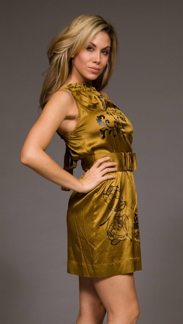 Hale Bob Foil Stamped Stretch Silk Belted Dress Gold