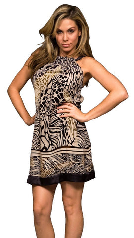 Hale Bob Crushed Velvet Animal Print Brown Silk Tie Dress
