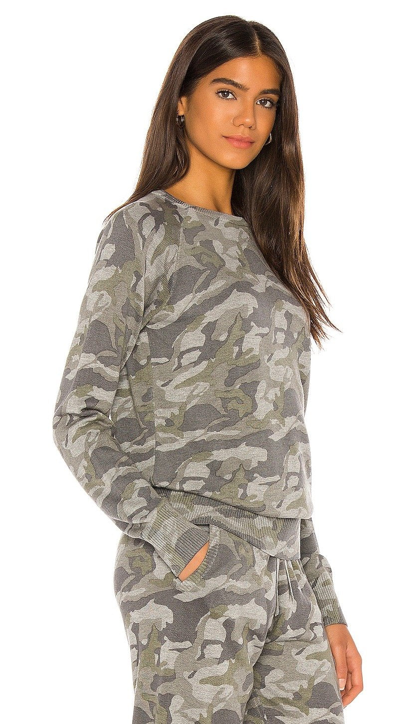 MONROW Camo Raglan Sweater Grey Army Camouflage Top | ShopAA