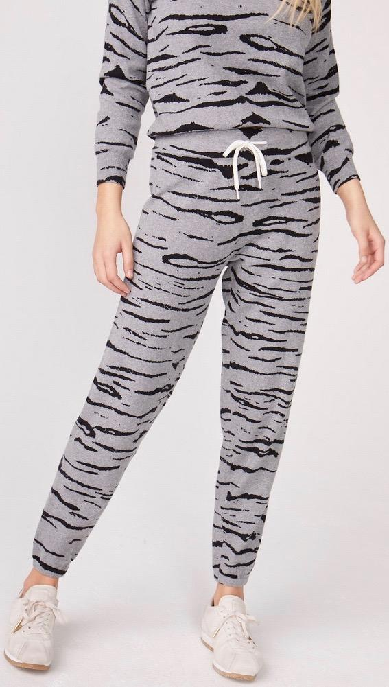 MONROW Cashmere Tiger Print Vintage Sweats Heather Grey Pants | ShopAA