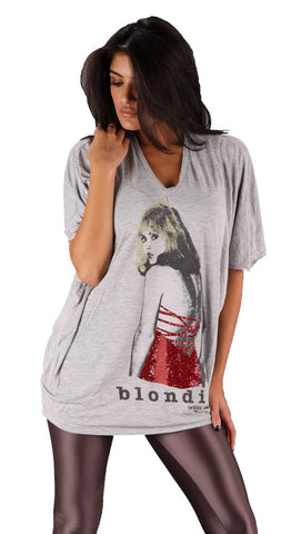 House Of The Gods Blondie Red Sequin Dress Oversized Batwing V Neck Tee Top Grey