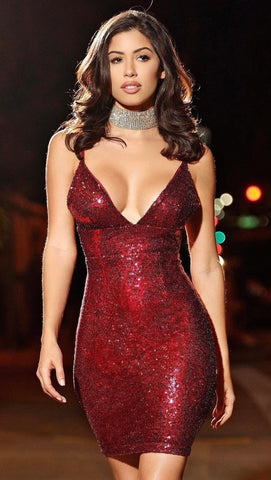 The Stacey Red Sequin Mini Dress